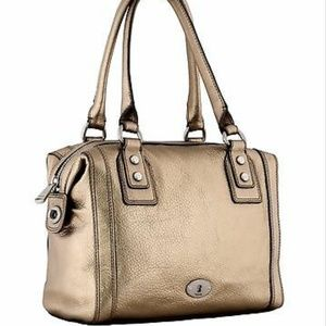 Fossil cow hide leather marlow gold satchel bag